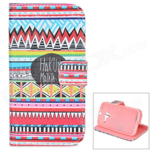 IKKI Painting Pattern Protective PU Leather Case w/ Stand for Motorola MOTO X - Red + Multicolored