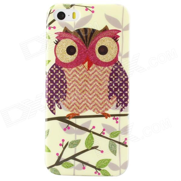 Shimmering Owl Pattern Protective TPU Back Case for IPHONE 5 / 5S - Beige + Red + Multicolored holes pattern protective tpu back case for iphone 6 plus 5 5 red