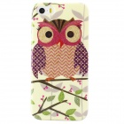 Shimmering Owl Pattern Protective TPU Back Case for IPHONE 5 / 5S - Beige + Red + Multicolored