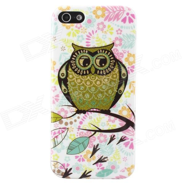 Shimmering Owl Pattern Protective TPU Back Case for IPHONE 5 / 5S - White + Golden + Multicolored tpu material protective back case cover owl pattern for iphone 5c