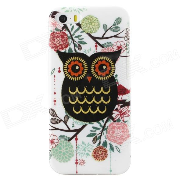 Shimmering Owl Pattern Protective TPU Back Case for IPHONE 5 / 5S - White + Black + Multicolored tpu material protective back case cover owl pattern for iphone 5c