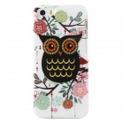 Shimmering Owl Pattern Protective TPU Back Case for IPHONE 5 / 5S - White + Black + Multicolored