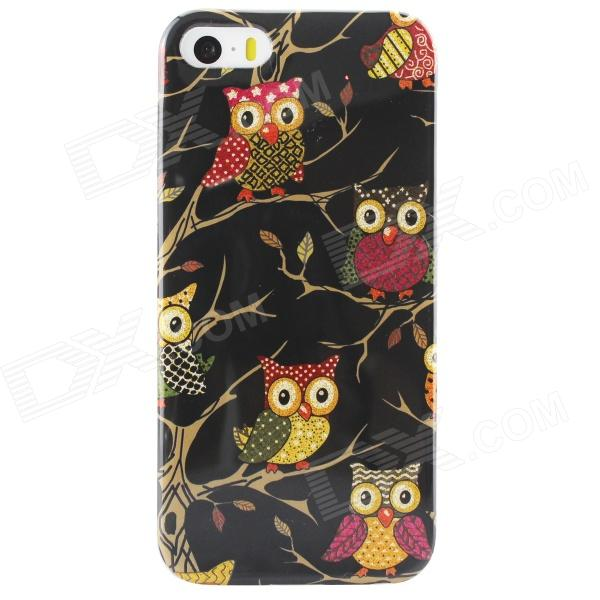 Shimmering Owl Pattern Protective TPU Back Case for IPHONE 5 / 5S - Black + Multicolored tpu material protective back case cover owl pattern for iphone 5c