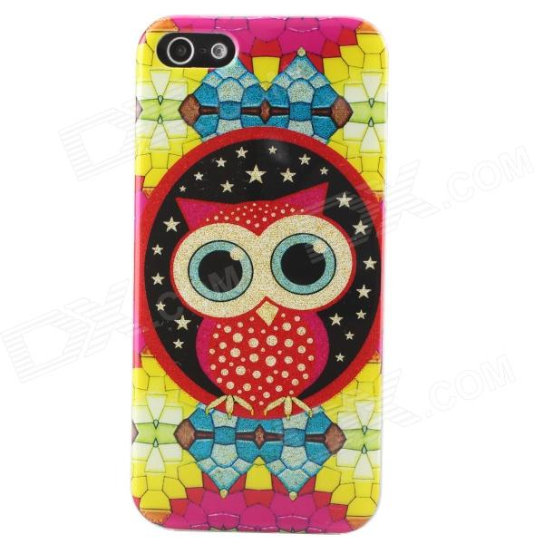 Shimmering Owl Pattern Protective TPU Back Case for IPHONE 5 / 5S - Yellow + Multicolored holes pattern protective tpu back case for iphone 6 plus 5 5 yellow