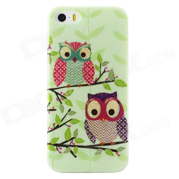 Shimmering Owl Pattern Protective TPU Back Case for IPHONE 5 / 5S - Green + Multicolored