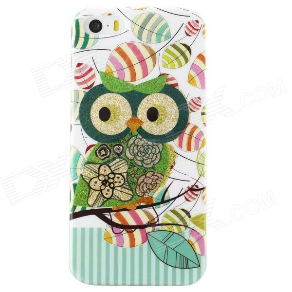 Shimmering Owl Pattern Protective TPU Back Case for IPHONE 5 / 5S - White + Green + Multicolored cute owl pattern protective tpu back case for iphone 6 4 7 green deep pink multicolored