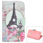 IKKI Eiffel Tower Pattern PU Leather Case w/ Stand for Motorola MOTO X - Green + Multicolored