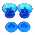 Plastic + Silicone 3D Joystick Caps + Covers for XBOX ONE Controller - Translucent Blue (2 PCS)