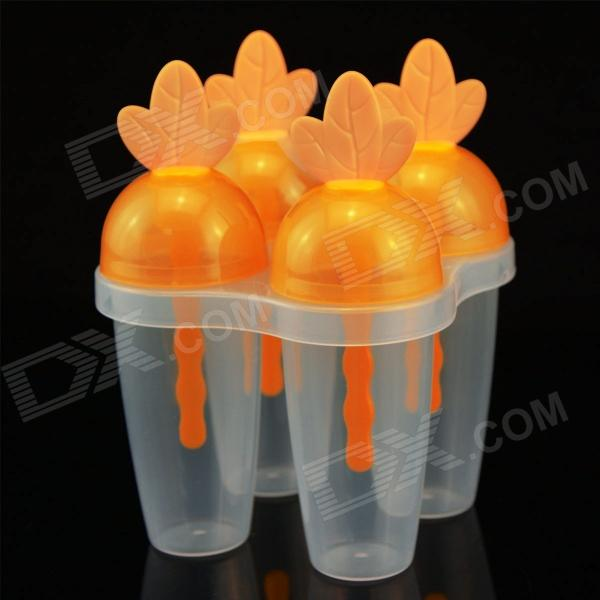 SMKJ YH5867 DIY Carrot Style Popsicle / Ice Cream Mold - Orange + Transparent
