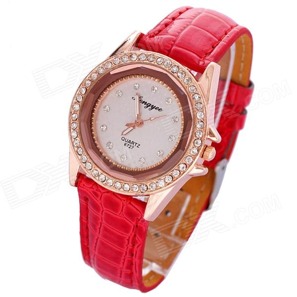 XZPD-01 Women's Stylish Rhinestone-studded PU Band Quartz Analog Wrist Watch - Gold + Red (1 x 626)