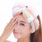 Coral Fleece Headband Hair Band - Pink + White