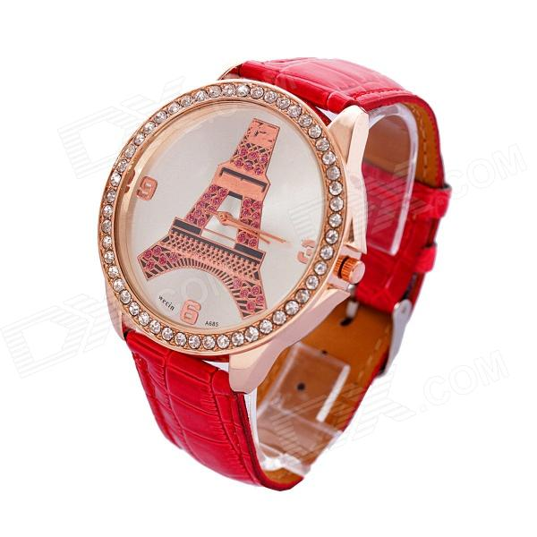 MGJXZ06 Women's Rhinestone-studded PU Band Quartz Analog Wristwatch - Rose Gold + Red (1 x 626)