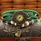 ZIQIAO 028 Women's Retro Rose Split Leather Band Quartz Analog Bracelet Watch - Green (1 x AG4)