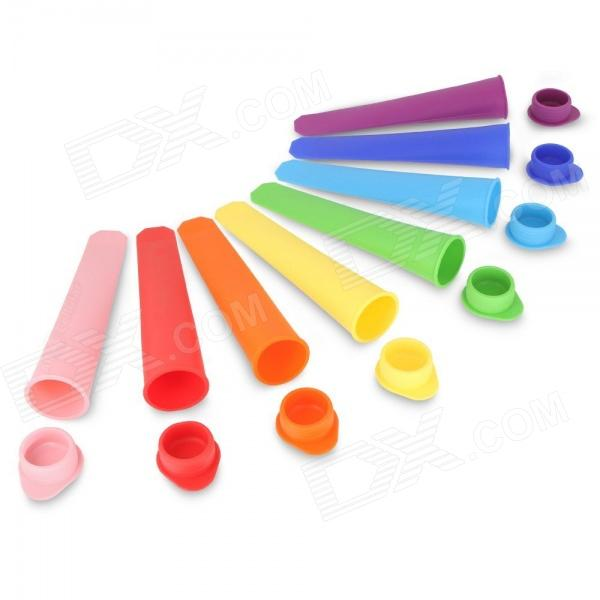 Durable Rainbow Silicone Popsicle Ice Molds - Yellow + Orange + Multi-Colored (8 PCS)