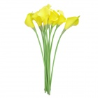 Mini Calla Lily Shaped PU Artificial Flowers - Yellow (10 PCS)