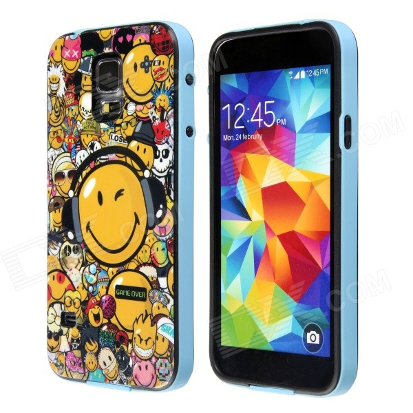 Smiling Face Pattern Protective Plastic Back Case for Samsung Galaxy S5 - Blue + Yellow + Multicolor protective round tribe tattoo pattern back case for samsung galaxy s4 i9500 green blue yellow