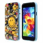 Smiling Face Pattern Protective Plastic Back Case for Samsung Galaxy S5 - Blue + Yellow + Multicolor