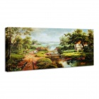 "Iarts DX0716-09 Printing + Hand-painted ""Classical Landscape"" Oil Painting - Green (30 x 70cm)"