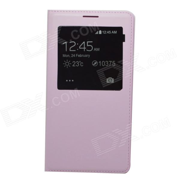 Protective PU Flip-open Case w/ Display Window for Samsung Note3 N9000 - Pink protective pu leather flip open case w stand for samsung note 3 n9000 deep pink light green