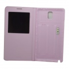 Protective PU Flip-open Case w/ Display Window for Samsung Note3 N9000 - Pink