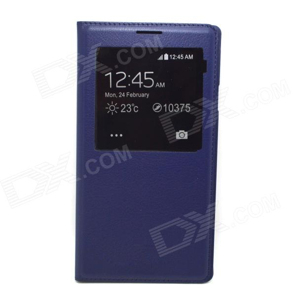 Protective PU Flip-open Case w/ Display Window for Samsung Note3 N9000 - Purple protective flip open pu leather case w display window stand for samsung note 3 n7200 white