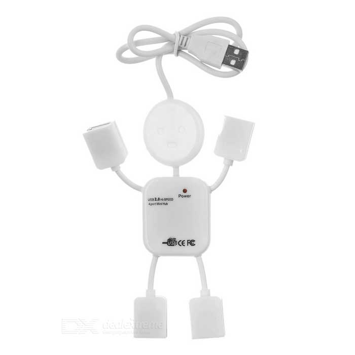 MS001 Human Shape USB 2.0 4-Port HUB - White