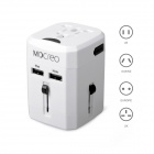 MOCREO Universal Dual USB Travel Wall AU / UK / US / EU Plug Power Charger Adapter - White