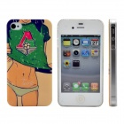 Sexy Football Girl Pattern Print Protective Plastic Case for IPHONE 4 / 4S - Green + Black