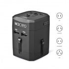 MOCREO Universal Dual USB Travel Wall AU / UK / US / EU Plug Power Charger Adapter - Black