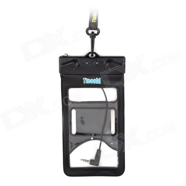 Tteoobl R-12B Protective TPU Waterproof Bag w/ Headset Jack for IPHONE / Cell Phone - Black