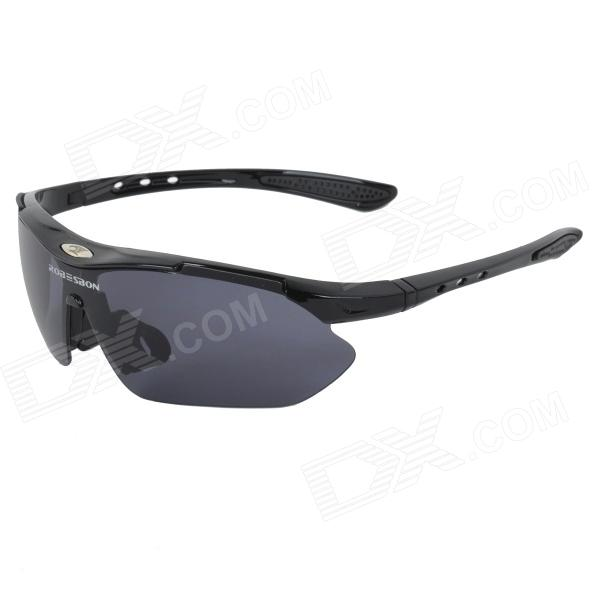 ROBESBON 0089 Outdoor Sports Cycling Clear-View Goggles Sunglasses - Black