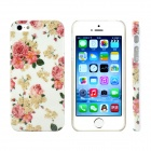 Peony Flower Design Pattern Print Plastic Hard Case for IPHONE 5 / 5S - White + Yellow