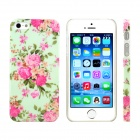 Chinese Rose Design Pattern Print Plastic Case for IPHONE 5 / 5S - Pink + Green