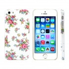 Small Rose Design Pattern Print Plastic Case for IPHONE 5 / 5S - White + Pink