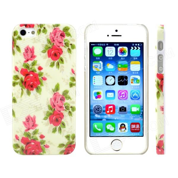 Rose Design Pattern Print Plastic Case for IPHONE 5 / 5S - Green + Red body armor design leather coated plastic phone case for iphone 7 plus 5 5 inch rose