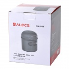 ALOCS CW-S04 Handy Portable Outdoor Cooker Pot Set w/ Handle for Camping - Grey (1450mL)