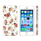 Peony Flower Design Pattern Print Plastic Case for IPHONE 5 / 5S - White + Dark Pink