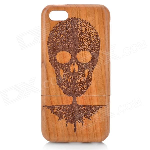 Skull Pattern Detachable Protective Wood Back Case for IPHONE 5C - Brown + Black