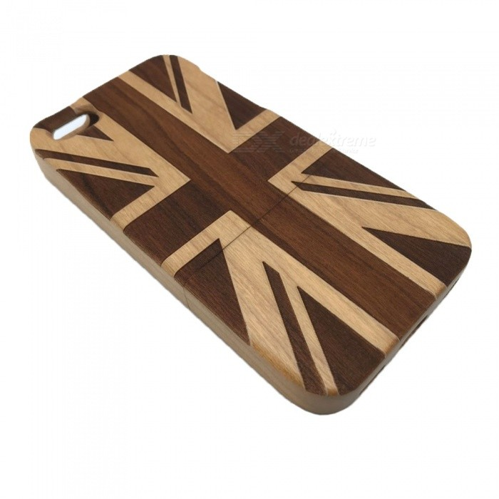 UK Flag Pattern Detachable Protective Wood Back Case for IPHONE 5C - Brown + Black