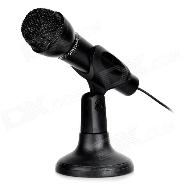 все цены на Mini 3.5mm Net KTV Desktop Microphone for Computer w/ Stand Holder - Black