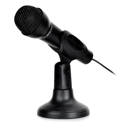 Mini 3.5mm Net KTV Desktop Microphone for Computer w/ Stand Holder - Black