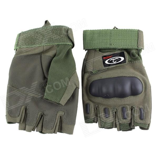 OUMILY Outdoor Tactical Half-Finger Gloves - Army Green (Size M / Pair)