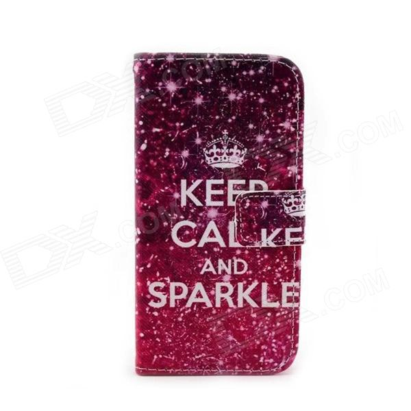 Keep Calm and Sparkle Pattern Protective PU + PC Case for Moto G - Purple + Deep Pink