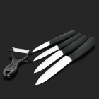Multi-functional Ceramic Knives w/ Anti-skid Handles + Peeler Set - Black