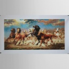 "Iarts DX071604 Printing + Hand-painted ""Eight Chinese Fine Horses"" Painting - Orange (30 x 70cm)"