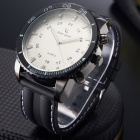 V6 025 Men's Stainless Steel Case Rubber Band Quartz Analog Wrist Watch - Black + White (1 x 377)