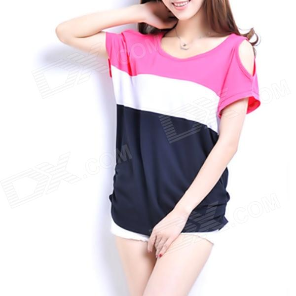 Women's Round Collar Off-shoulder Short Bat Sleeve T-Shirt - Multicolored