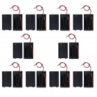 CM01 DIY 3-AAA Battery Holder Cases / Boxes w/ Lead / Cap - Black (10 PCS)