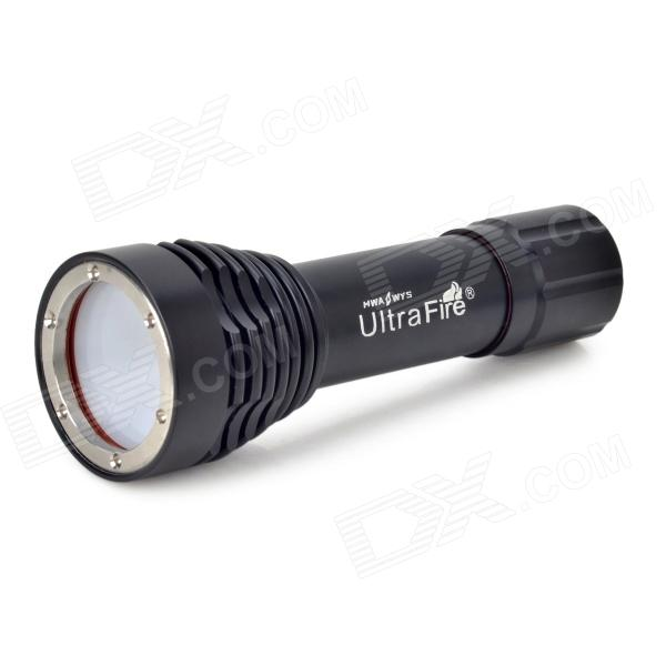 UltraFire LU-4 LED 600lm 5-Mode White Light Lanterna Mergulho Fotografia - Preto