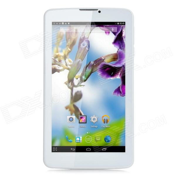 Z11 7 MTK8382 Quad-Core Android 4.4 Tablet PC w/ 512MB RAM, 8GB ROM, 3G, Bluetooth, GPS, FM - White - DXTablets<br>Color White Brand OthersN/A Model Z11 Quantity 1 Piece Shade Of Color White Material Plastic Processor Brand Mediatek Processor Model OthersMTK8382 Processor Speed 1.3 GHz Number of Cores Quad Core Operating System Android 4.4 GPU Mali-400MP RAM/Memory Type DDR3 SDRAM Built-in Memory / RAM 512MB Capacity / ROM 8GB Screen Size 7.0 Inch Screen Type TFT Touch Type Capacitive screen Resolution 1024 x 600 Touch Point 5-point Capacitive Touch Screen 3G Type WCDMA 3G Frequency Range 8502100 3G Function 3G Phone callSurf the InternetYes 2G Yes 2G Frequency Range 850/900/1800/1900MHz GPS Yes Supported Network WifiBuilt-in 3G2G Phone CallBluetoothGPS Wi-Fi Standard IEEE 802.11 b/g/n Gravity Sensor Yes Bluetooth Version V2.0 Microphone Yes Interface 1 x 3.5mm1 x micro USBOthers2 x SIM slot USB Charge Yes Google Play(Android Market) Yes Camera 2 x Camera Front Camera Pixels 0.3 MP Back Camera Pixels 2.0 Pixels Photoflash Lamp Yes Storage Interface TF Images GIFJPEGJPG E-book DOCPDF Video Formats RMRMVBAVI External Memory Max. Support 32 GB Plug Specifications EU Plug (2-Round-Pin Plug) Tip Diameter OthersMicro USB Supported Languages EnglishFrenchGermanItalianSpanishPortugueseRussianVietnamesePolishGreekDanishDutchArabicTurkeyBahasa IndonesiaKoreanThaiHungarianMalaySlovakRomanianSwedishFinnishChinese SimplifiedChinese TraditionalHebrew Battery Capacity 2800 mAh Battery Type Li-ion battery Working Time 160 minutes Standby Time 80 Hour Charging Time 3 Hour Packing List 1 x Tablet PC 1 x AC power charger adapter (95cm 100~240V / EU plug) 1 x USB cable (80cm) 1 x English user manual<br>